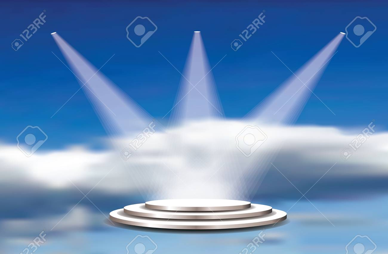 Empty vector white pedestals, spotlight and cloudy sky. Template for product presentation in heaven. Champions and winners background - 117160982