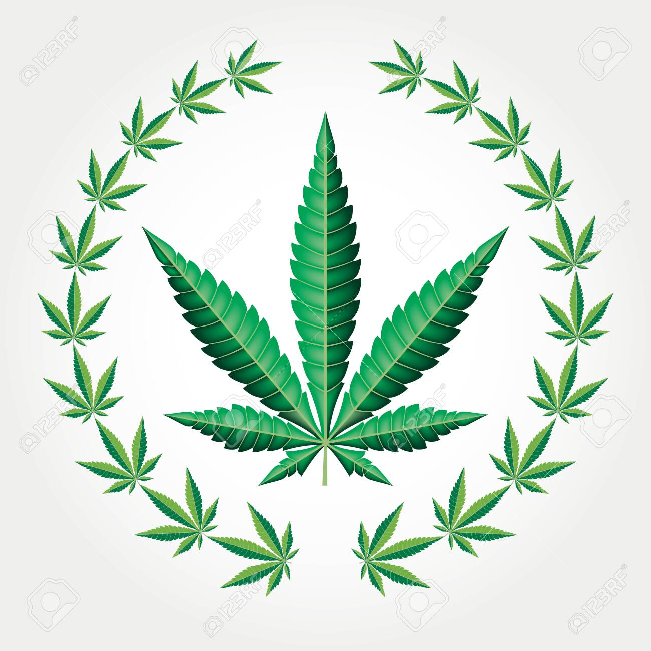 Wreath With Marijuana Leaves Vector Illustration Royalty Free Cliparts Vectors And Stock Illustration Image 129274289