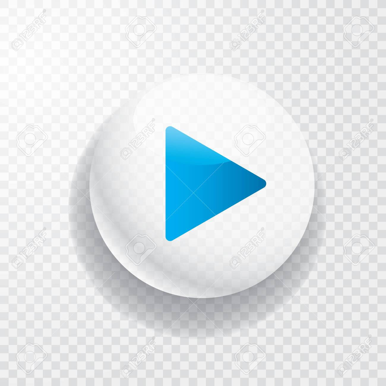 white transparent play button with blue arrow - 137589531