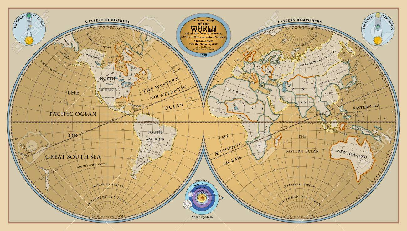 New Map Of Earth.Vector Of Old Globe Map Of World With New Discoveries Of 1799