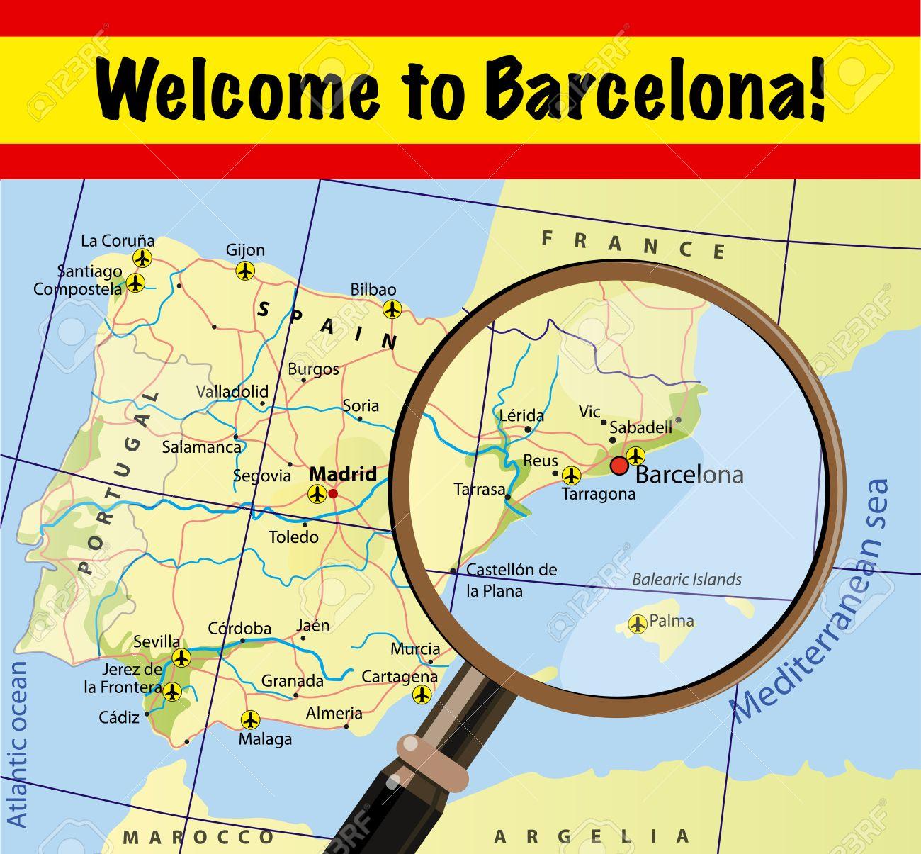 barcelona karte Willkommen In Barcelona. Sehenswürdigkeiten Auf Der Karte