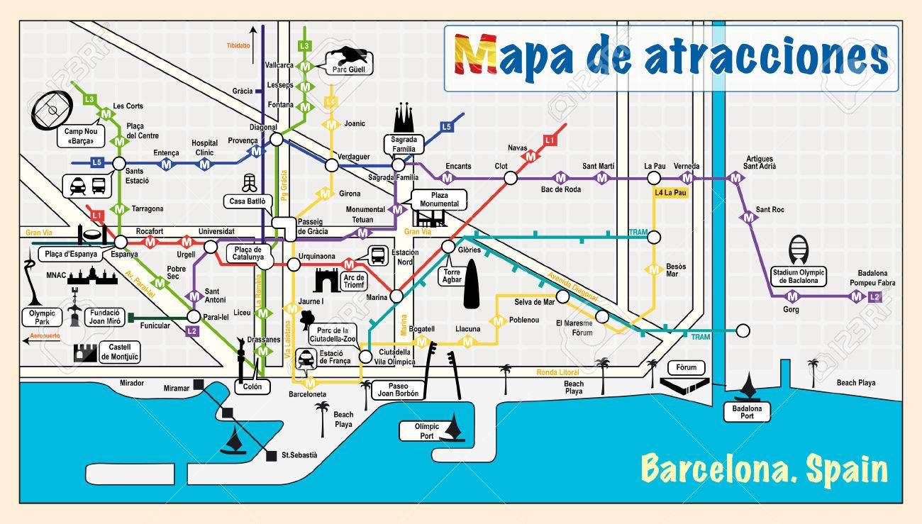 Welcome To Barcelona. Attractions On Map. Royalty Free Cliparts ...