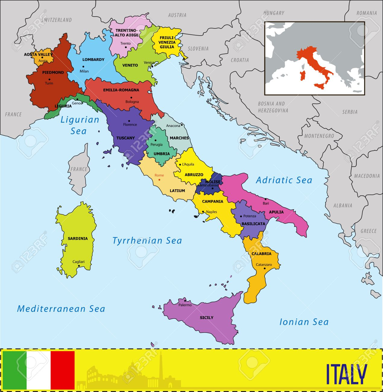Map Of Italy With Regions And Their Capitals Royalty Free Cliparts