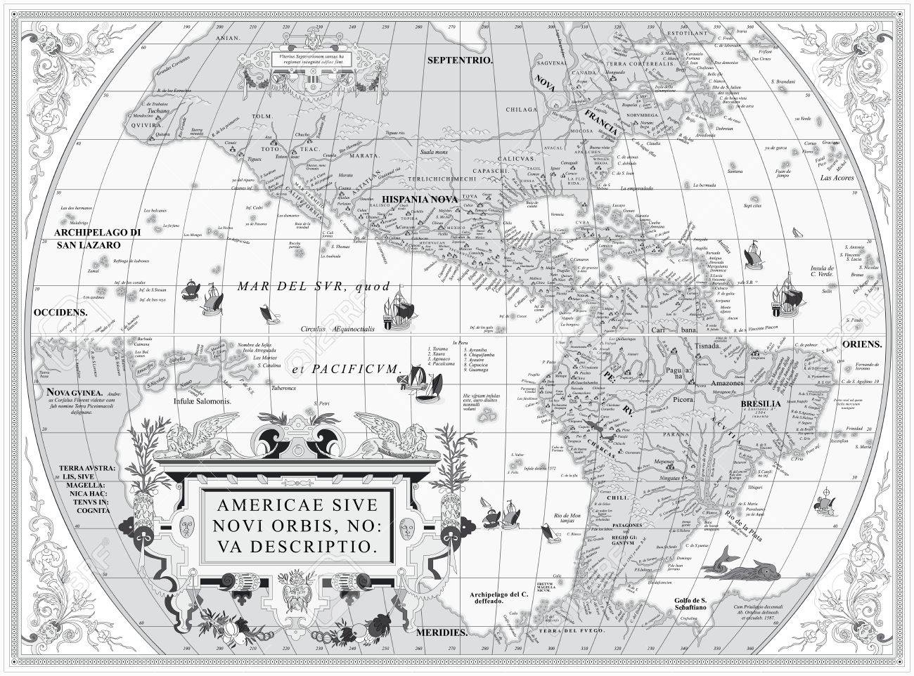 Vector Old Map Of South And North America Royalty Free Cliparts