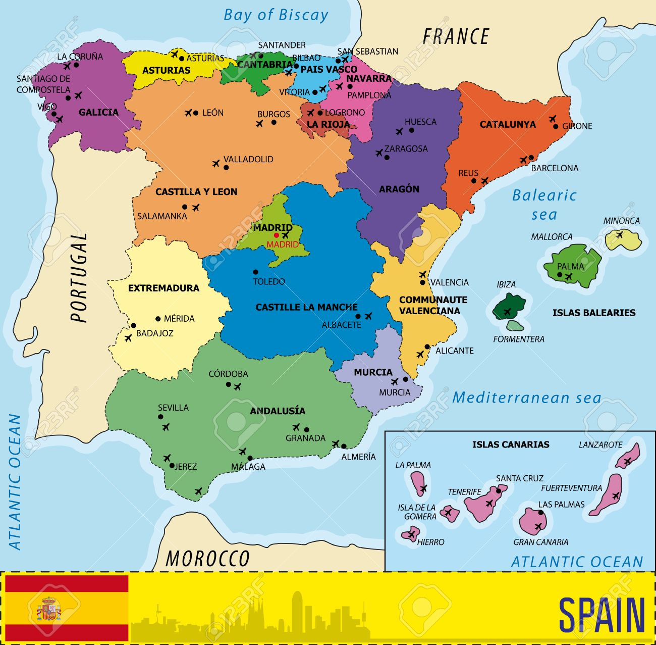 Map Of Spain With Airports.Detailed Vector Map Of Spain With All Regions And With Airports