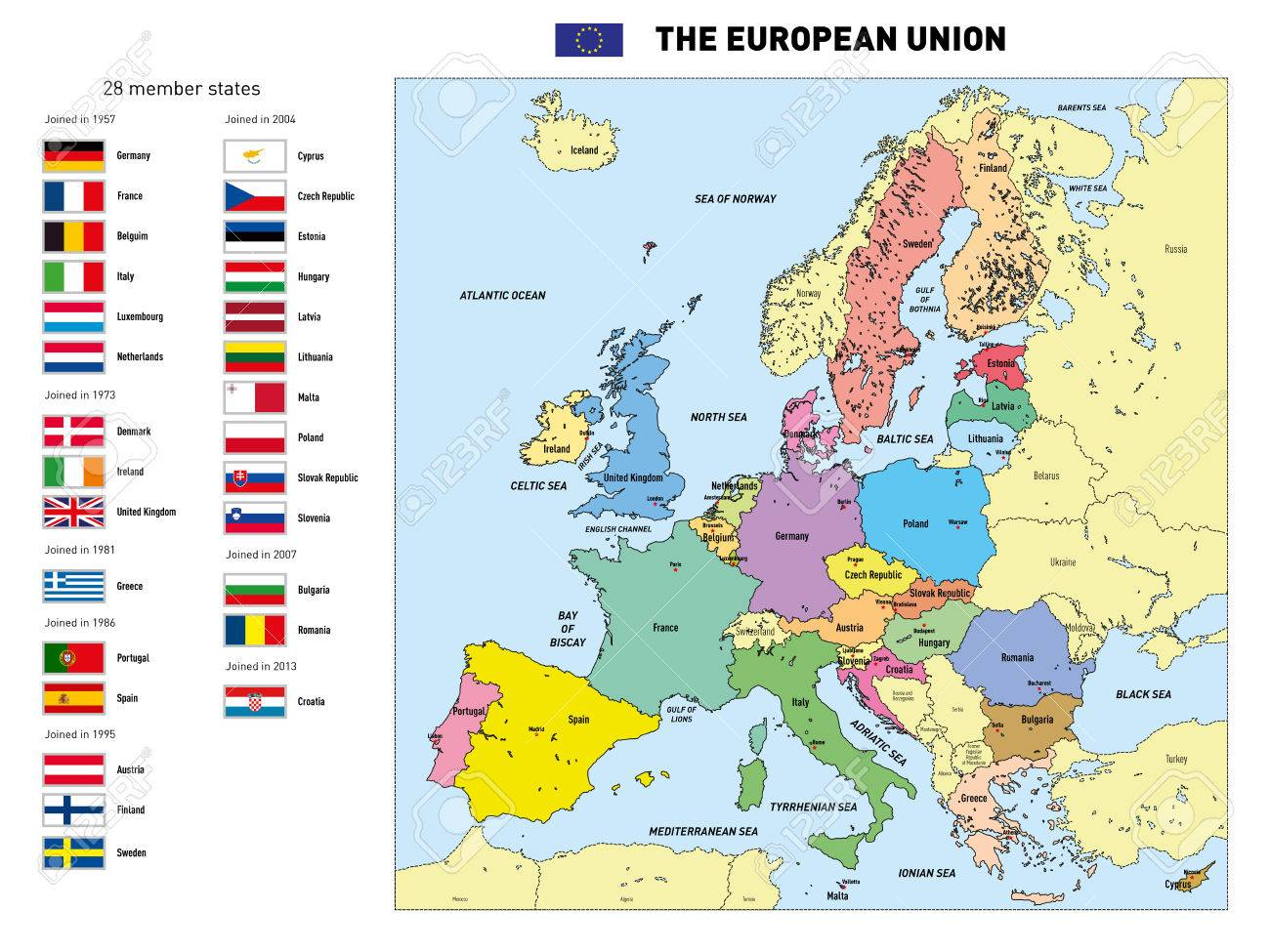 Vector Highly Detailed Political Map Of The European Union With