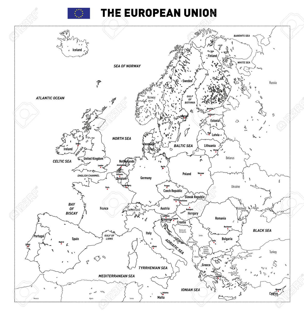 Vector highly detailed political map of The European Union with..