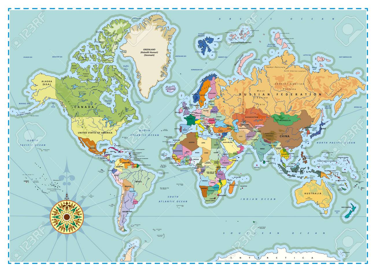 Highly detailed political world map with capitals rivers separated highly detailed political world map with capitals rivers separated layers vector illustration gumiabroncs Images