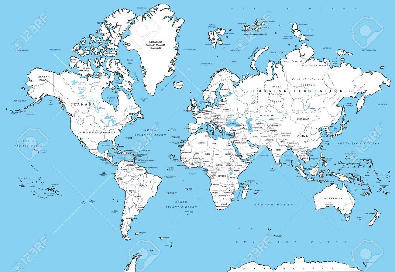Highly Detailed Political World Map With Capitals Rivers Separated