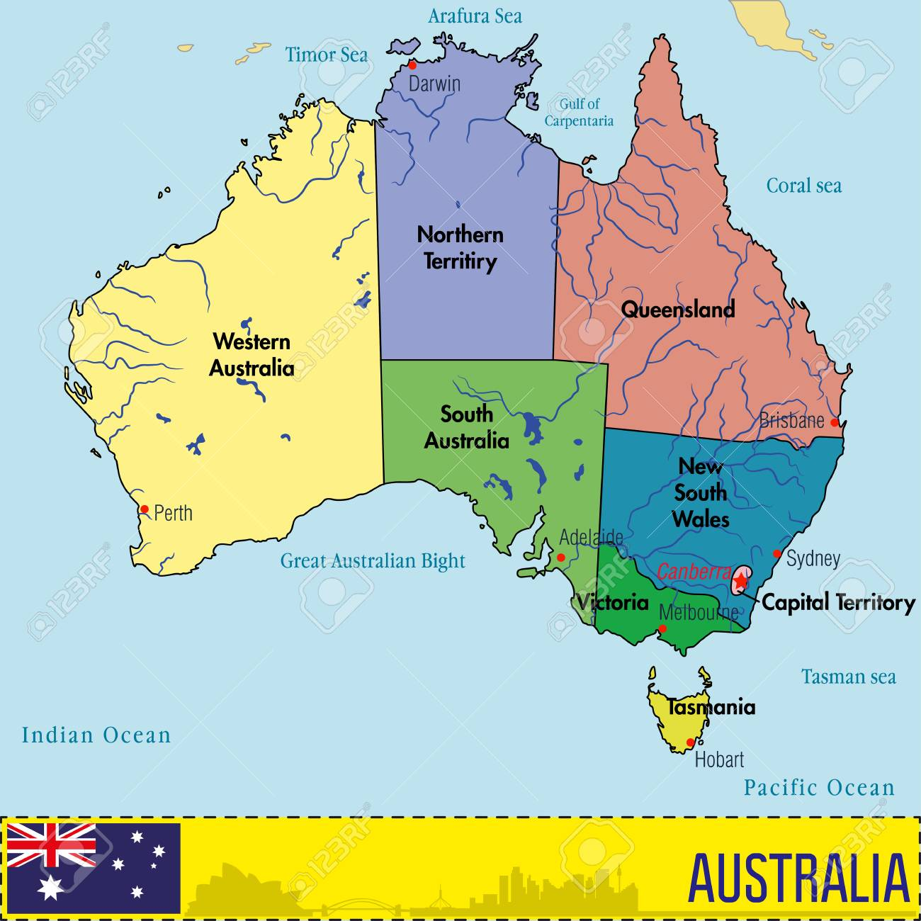 Australia Map Political.Vector Highly Detailed Political Map Of Australia With Regions