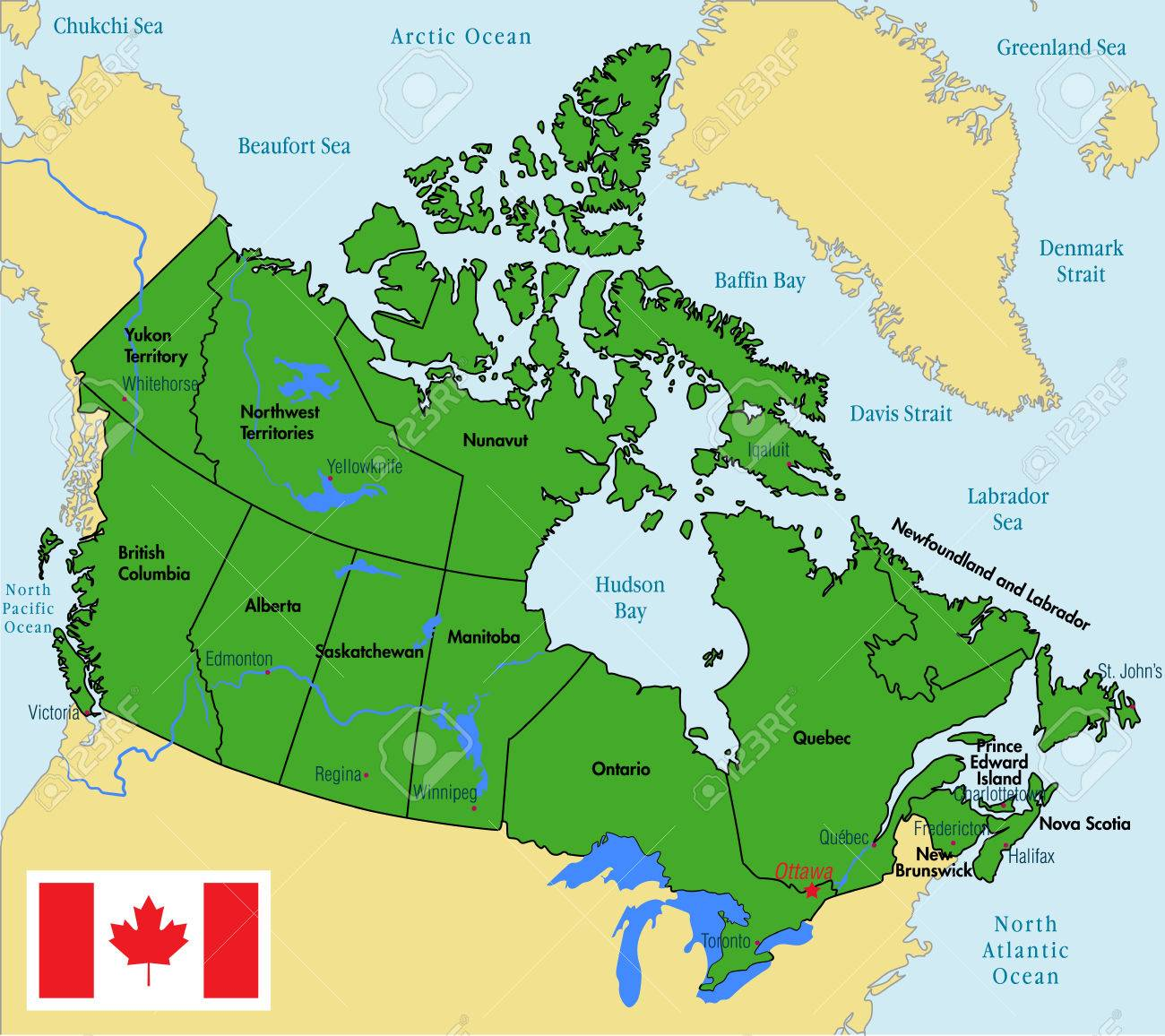 Carte Canada Region.Vector Highly Detailed Political Map Of Canada With Regions And