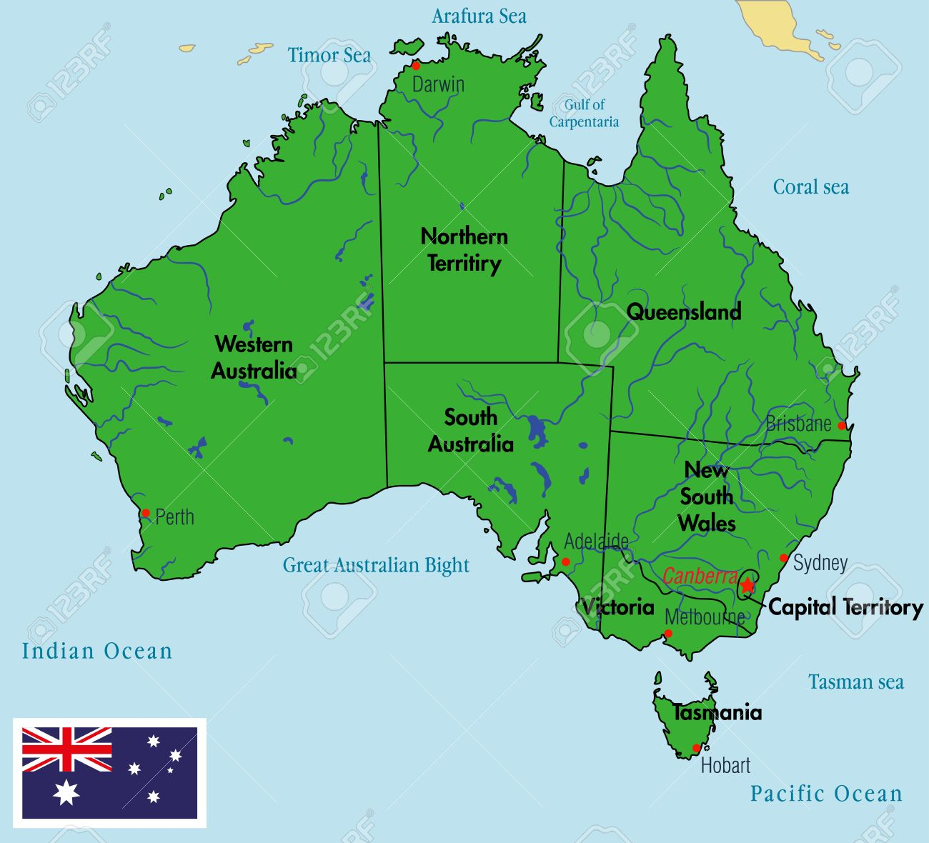 Map Of Australia Labeled.Vector Highly Detailed Political Map Of Australia With Regions