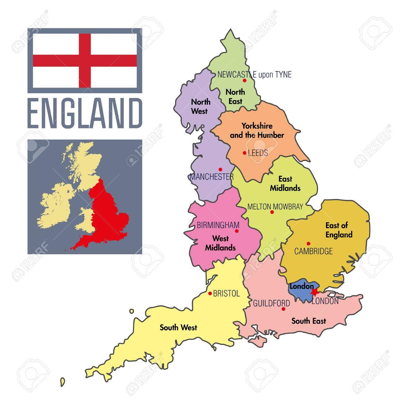 inglaterra no mapa Vector Mapa Político Altamente Detallado De Inglaterra Con Las  inglaterra no mapa