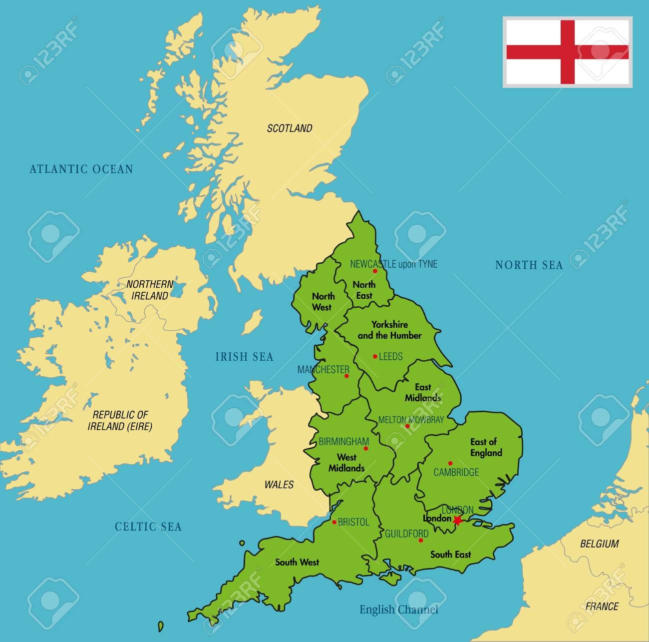 Map Of Uk Showing Regions.Vector Highly Detailed Political Map Of England With Regions