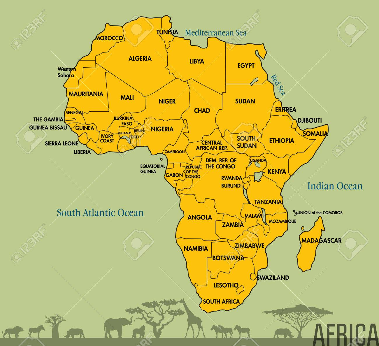 Highly Detailed Political Map Of Continent, Located On The African