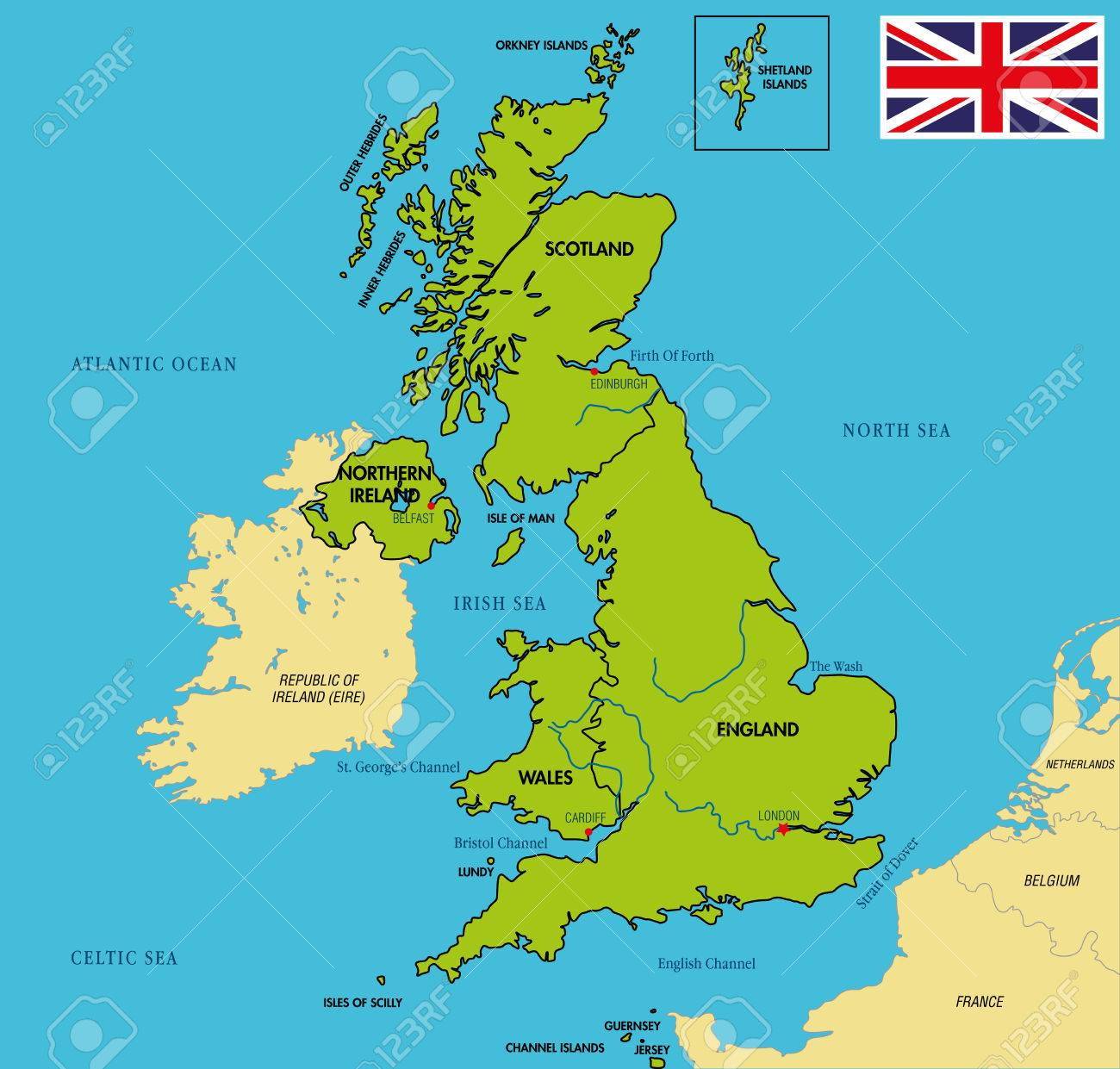 Political Map Of Great Britain.Vector Highly Detailed Political Map Of The United Kingdom Of