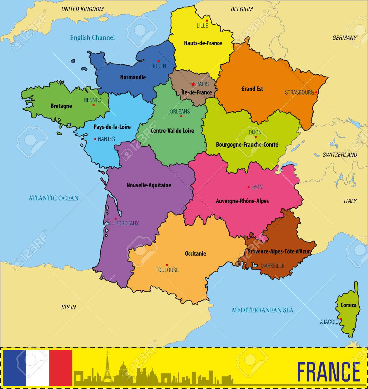 vector vector highly detailed political map of france with regions and their capitals all elements are separated in editable layers clearly labeled eps
