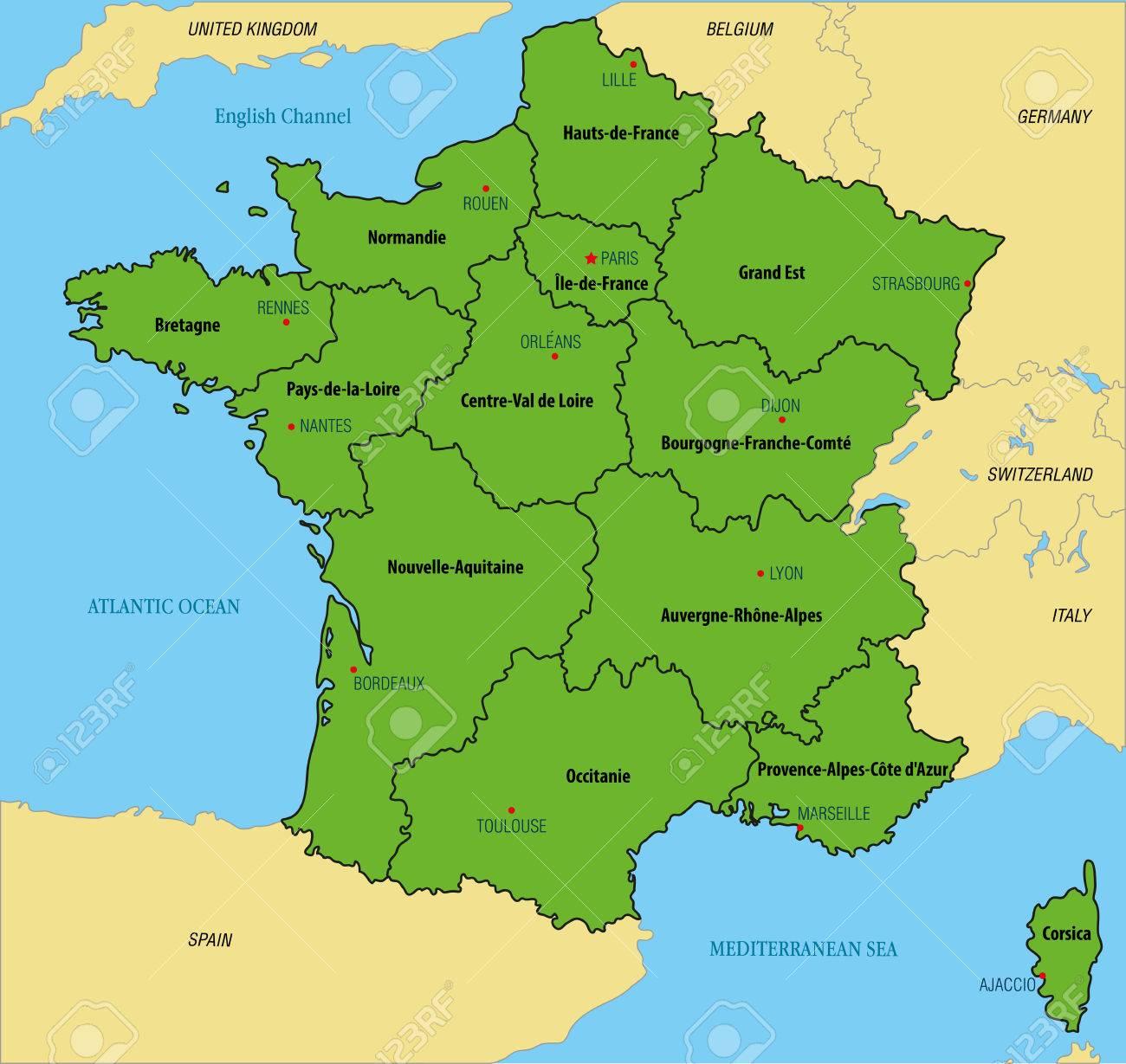 Frankreich Karte Regionen.Stock Photo