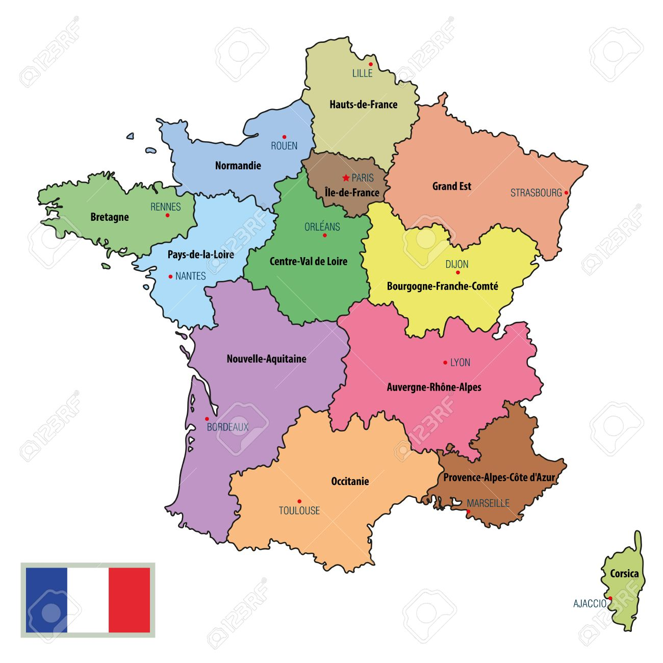 Map Of France Political.Vector Highly Detailed Political Map Of France With Regions And
