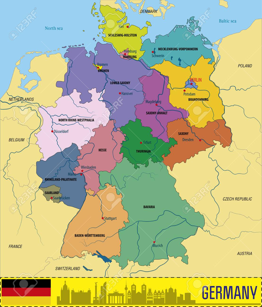 Map Of Germany Regions.Political Vector Map Of Germany With Regions And Their Capitals