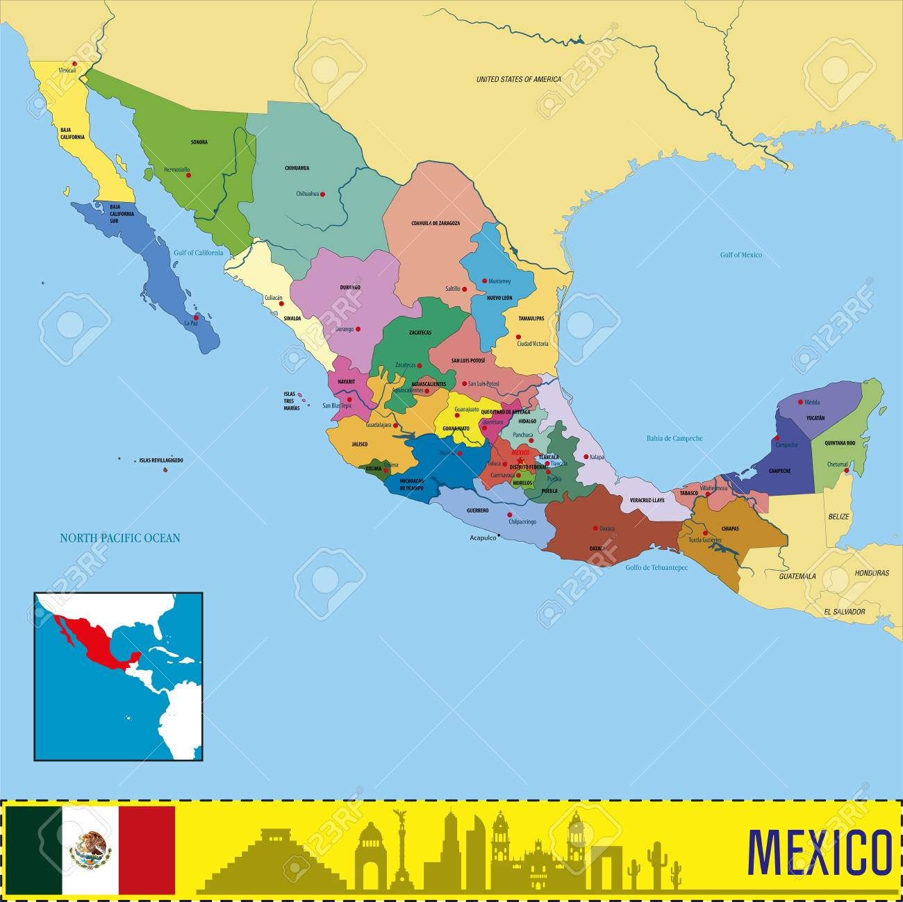 Vector Highly Detailed Political Map Of Mexico With Regions And