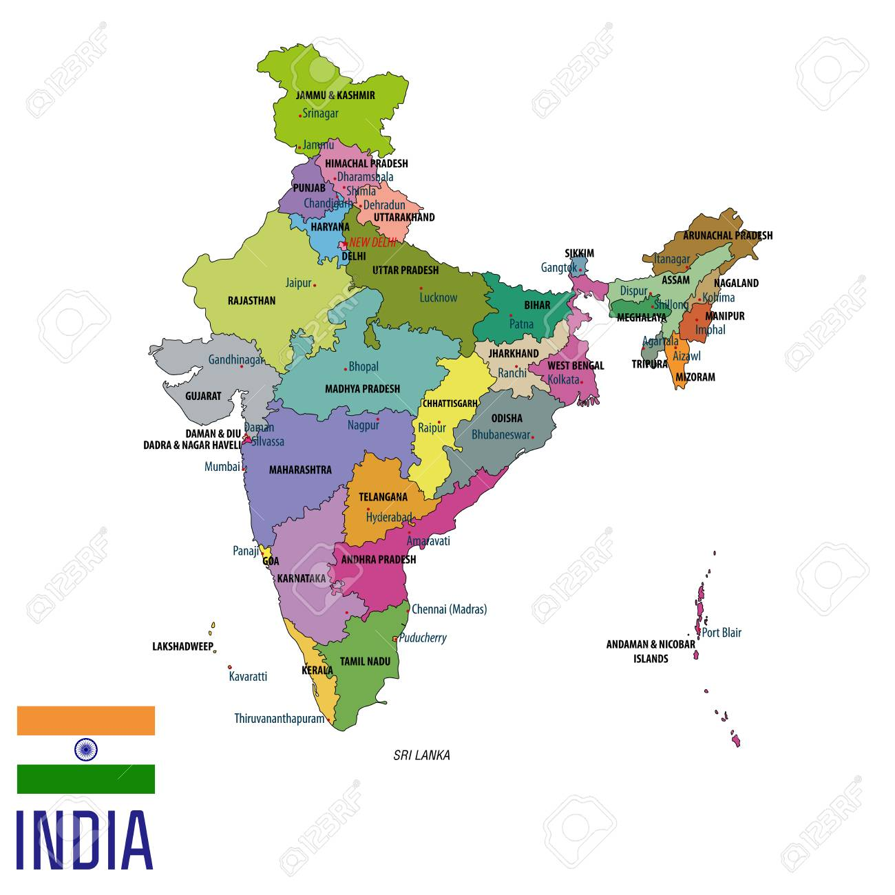 India Map With All States.Political Detailed Map Of India With All States And Country Boundary