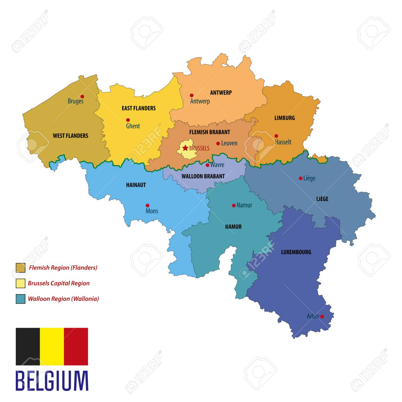 political vector map of belgium with all regions all layers clearly separated stock vector