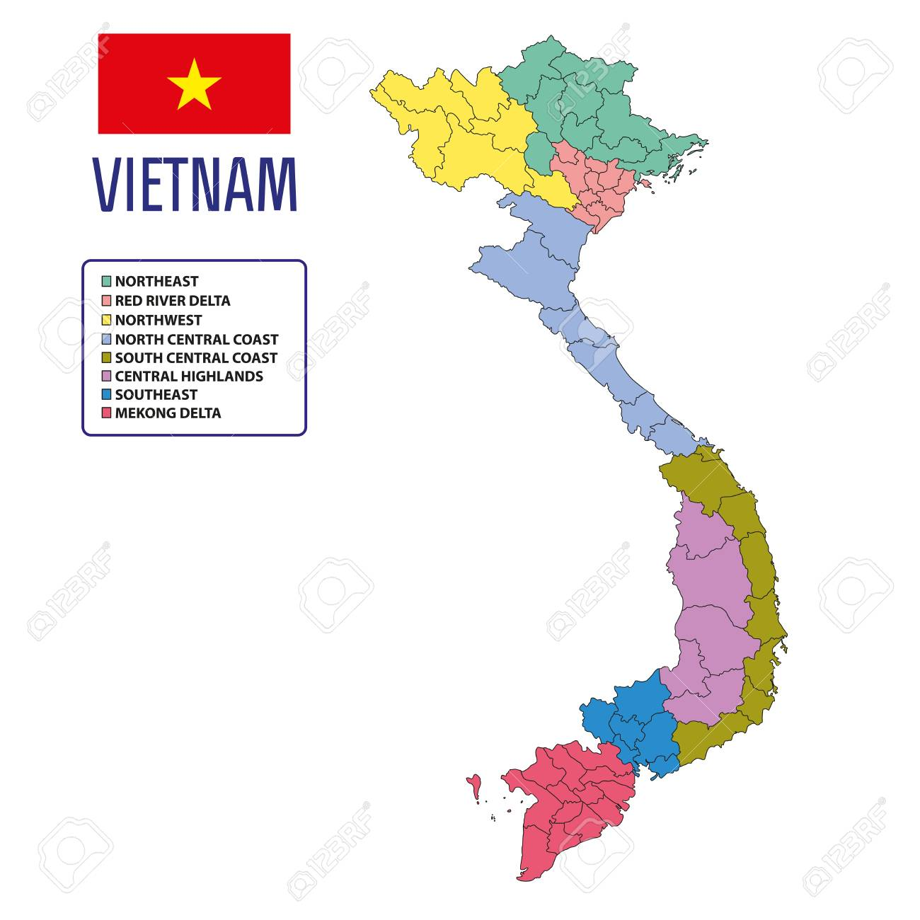 Picture of: Vector Highly Detailed Political Map Of Vietnam With Regions Royalty Free Cliparts Vectors And Stock Illustration Image 99071090
