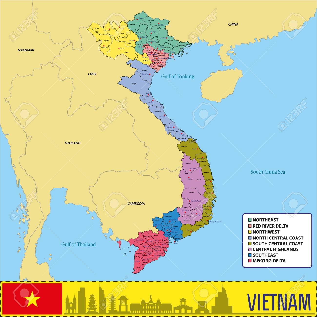 vector vector highly detailed political map of vietnam with regions and their capitals all elements are separated in editable layers clearly labeled eps