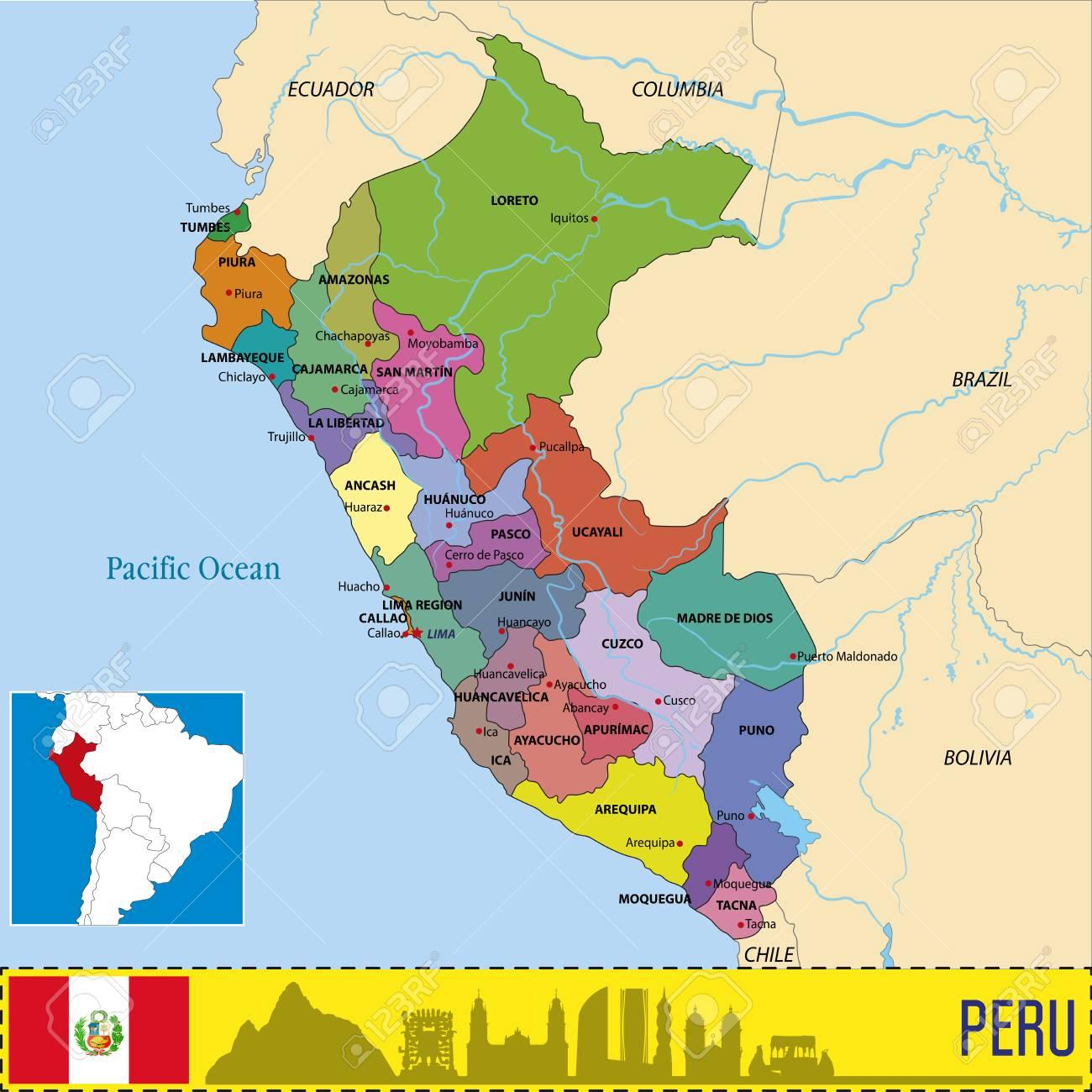 Vector Highly Detailed Political Map Of Peru With Regions And