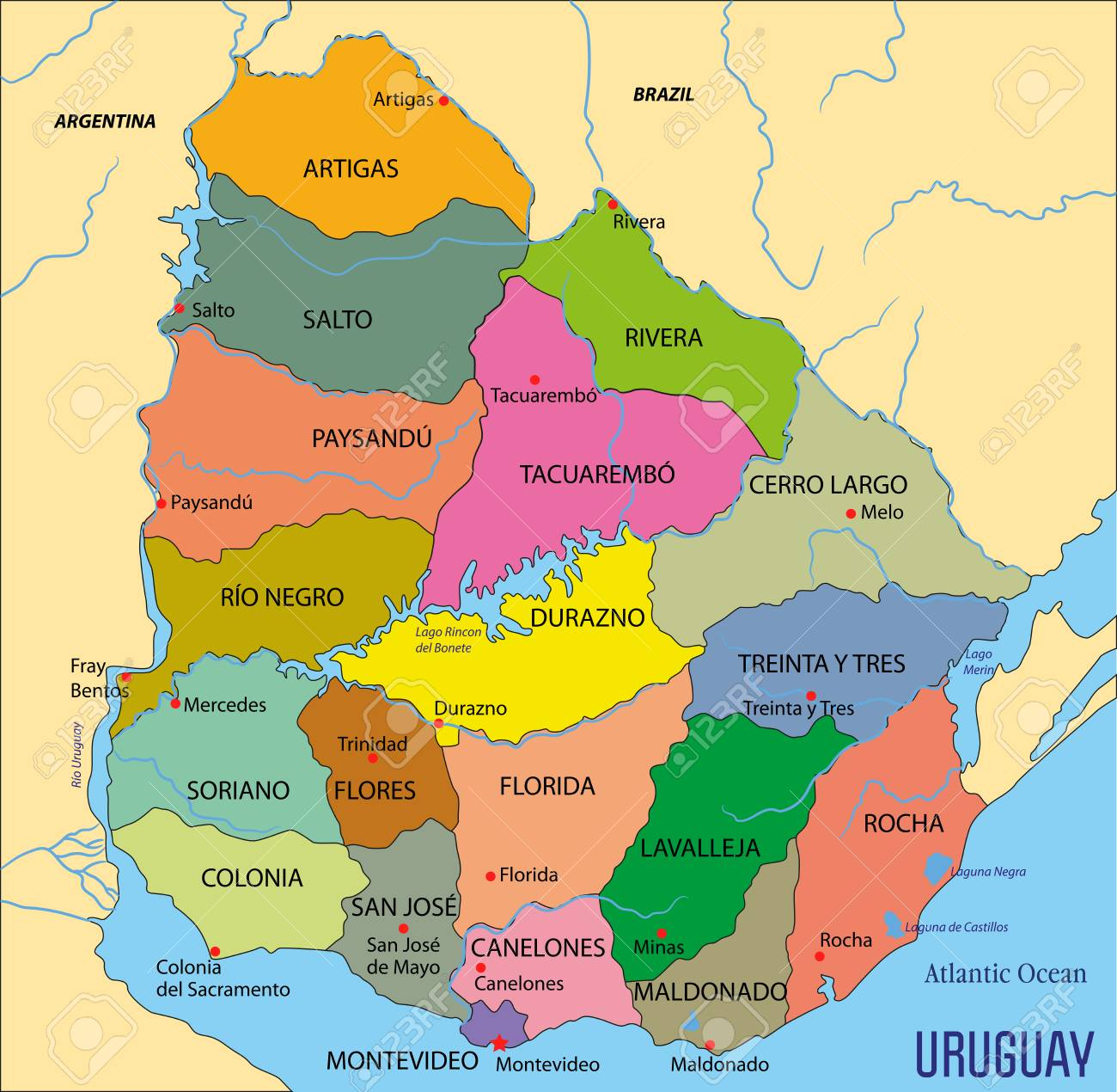 High Detailed Political Map Of Uruguay With Regions And Their ...