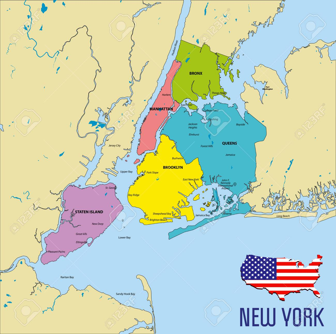 Map Of New York Rivers.Vector Highly Detailed Political Map Of New York With All Regions