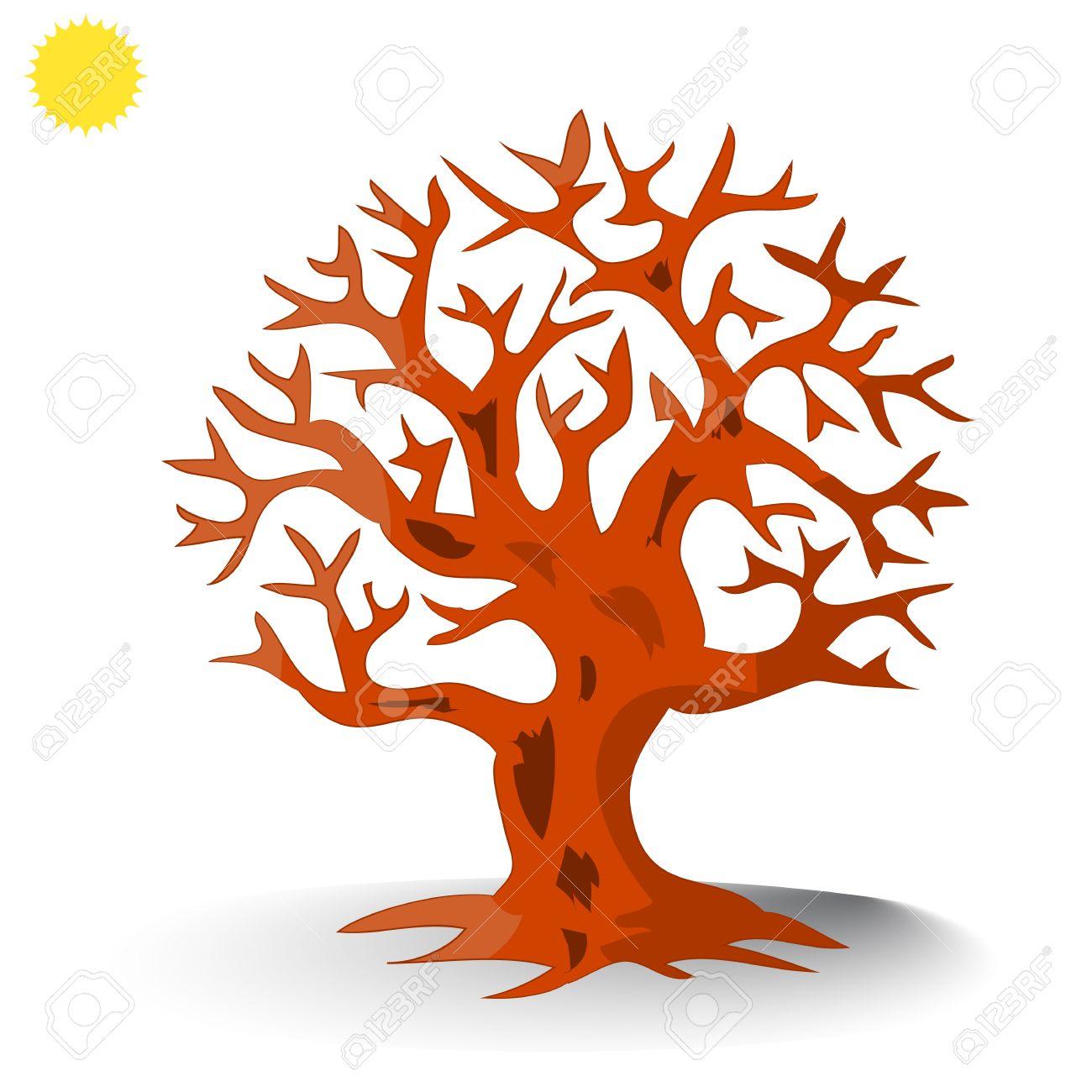 Brown árbol Sin Silueta De Hojas Dibujos Animados Sobre Fondo