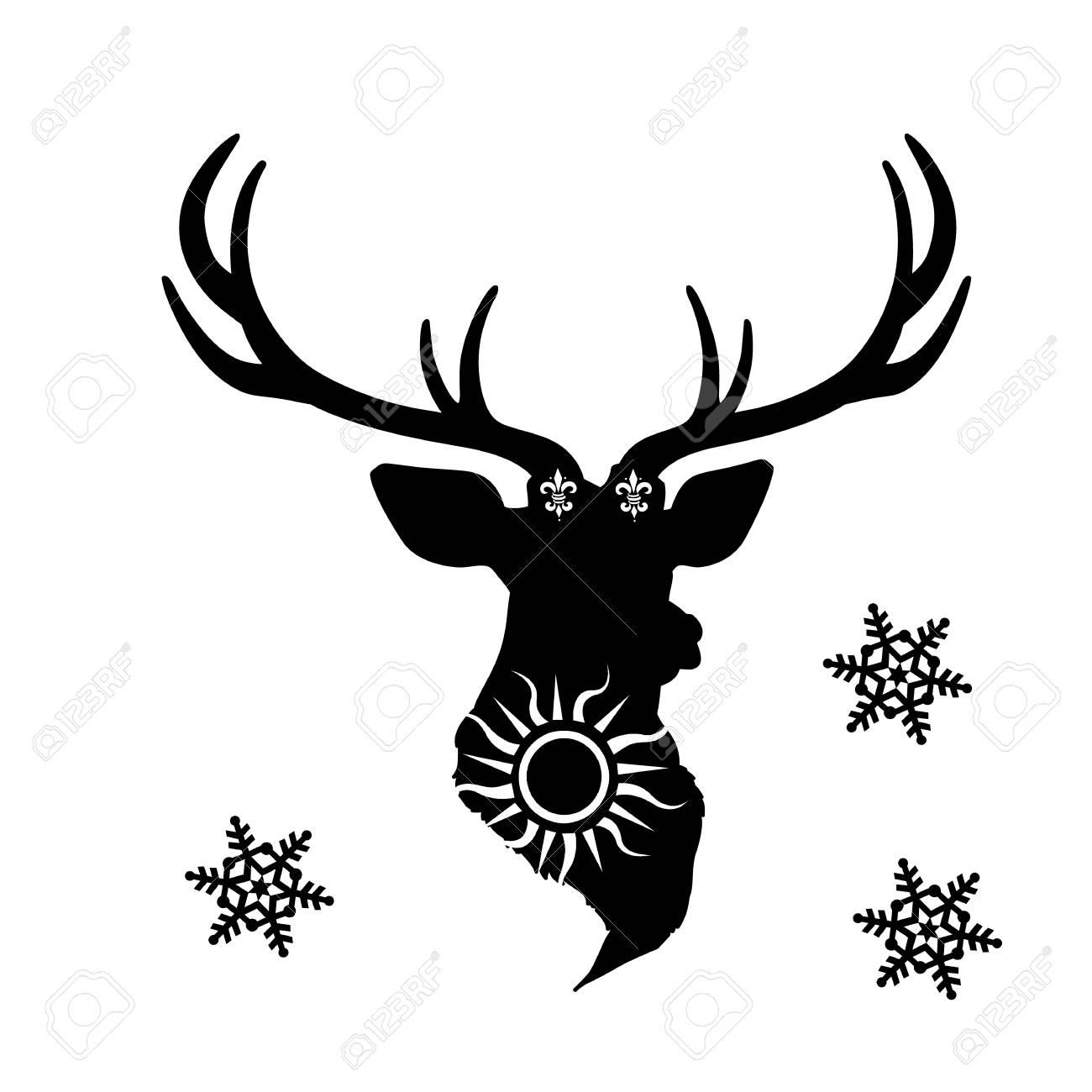 Silhouette Noire Festive D Une Tête De Cerf Sur Un Background Vector Blanc