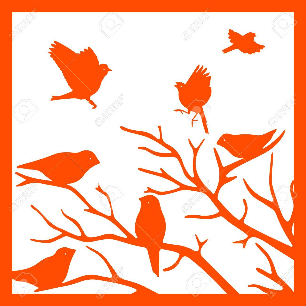 Orange Silhouette Im Rahmen, Vögel Auf Einem Zweig, Auf Einem Weißen ...
