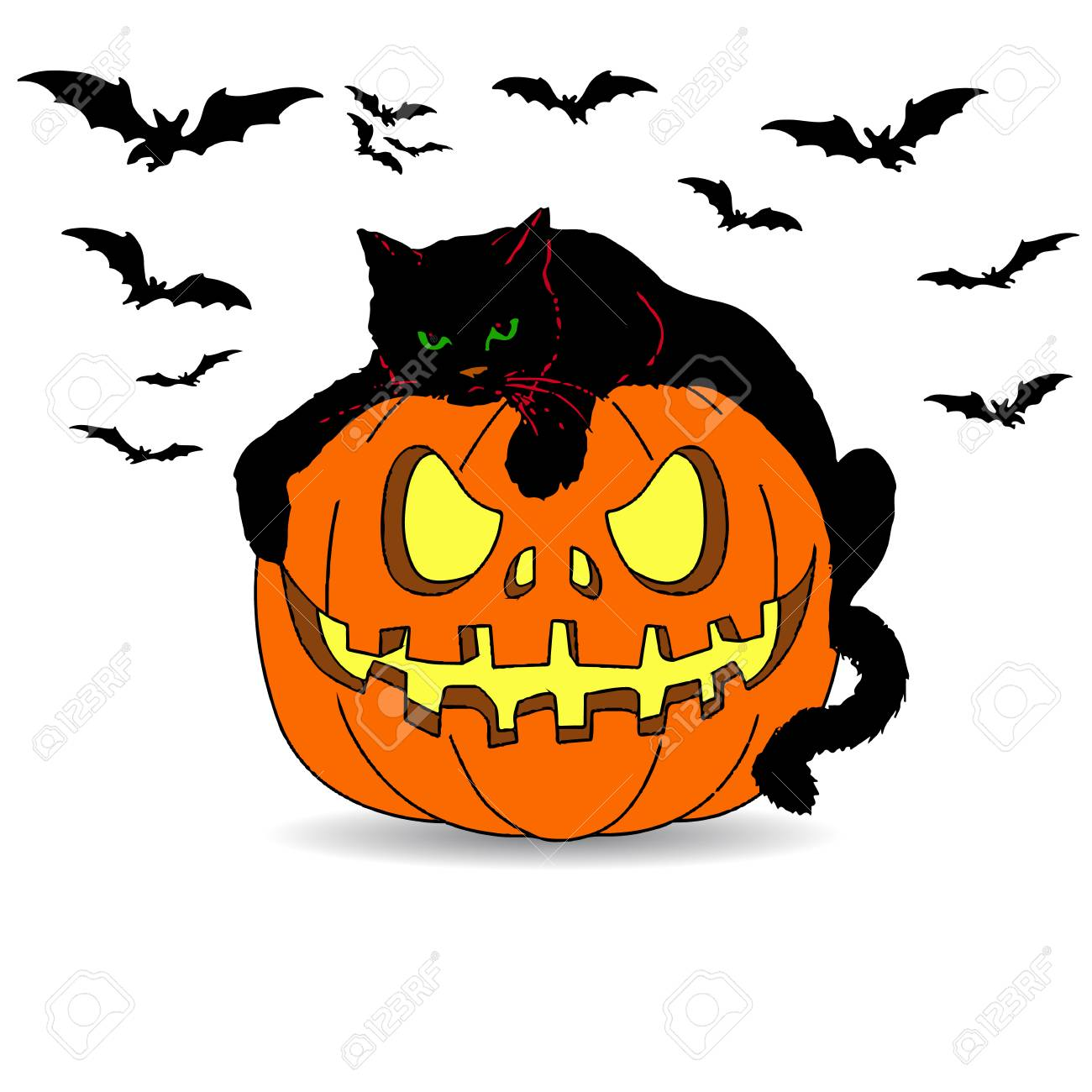 Halloween De Vacances Chat Noir Se Trouve Sur Une Citrouille Dessin Anime Sur Un Fond Blanc Clip Art Libres De Droits Vecteurs Et Illustration Image 87857551