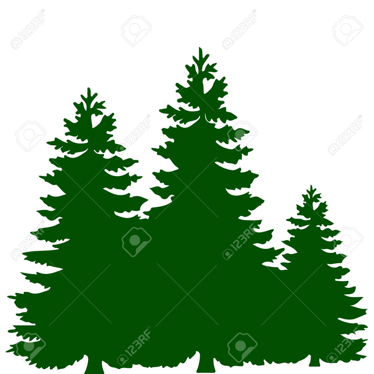 Christmas Trees Silhouette.Silhouette Of Three Green Christmas Trees On White Background