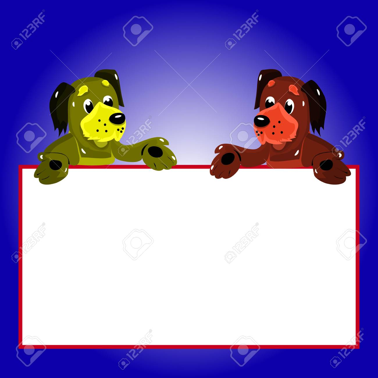Character, 2 Dogs With Empty Frame For Writing, Cartoon On Blue ...
