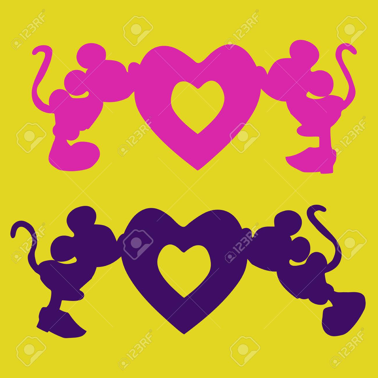 silhouette of mickey mouse boy and girl kiss the heart an illustration for