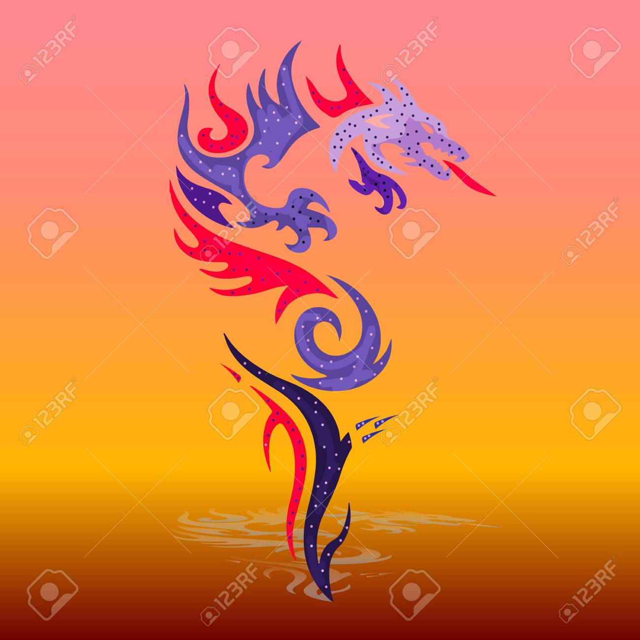 ornate violet spotted dragon from the mouth fires cartoon