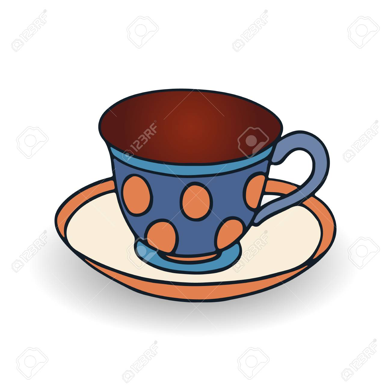 Blue Cup And Saucer For Coffee Cartoon On White Background Royalty Free Cliparts Vectors And Stock Illustration Image 102003797