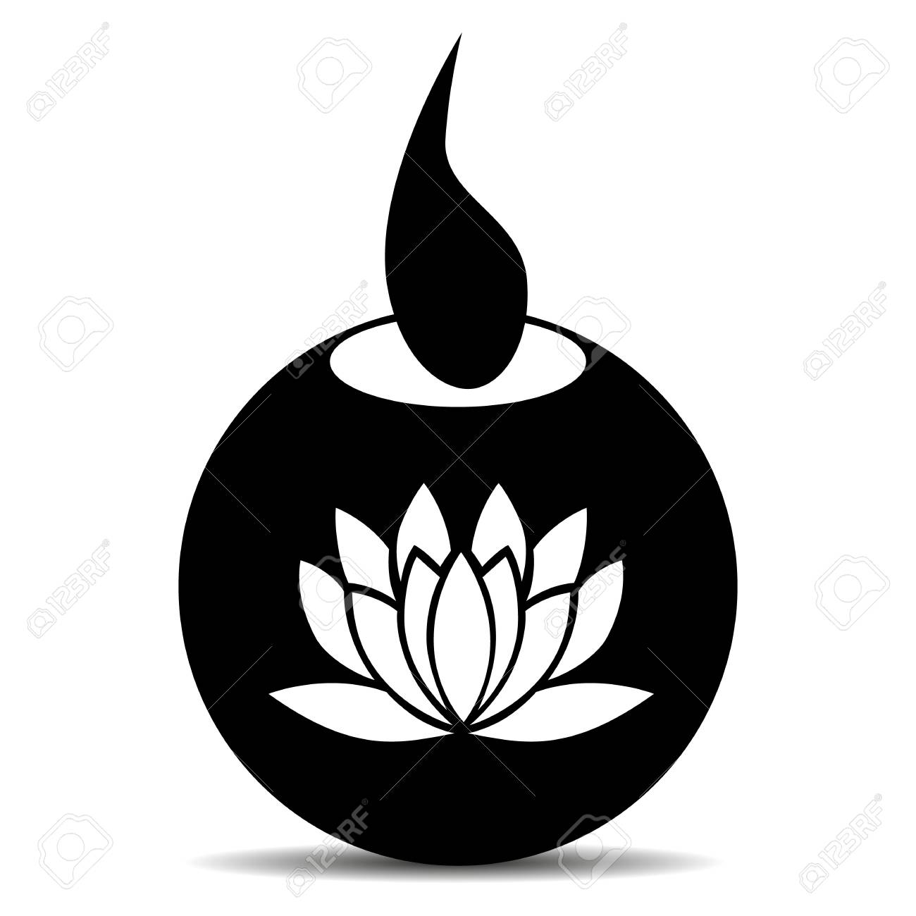 Candle for diwali celebration where in the middle is a drawing of a lotus