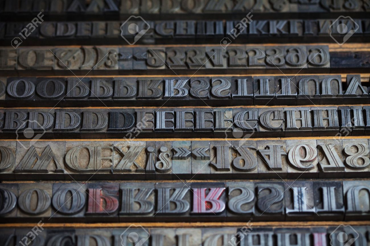 old vintage metal printing press letters stock photo 36831396