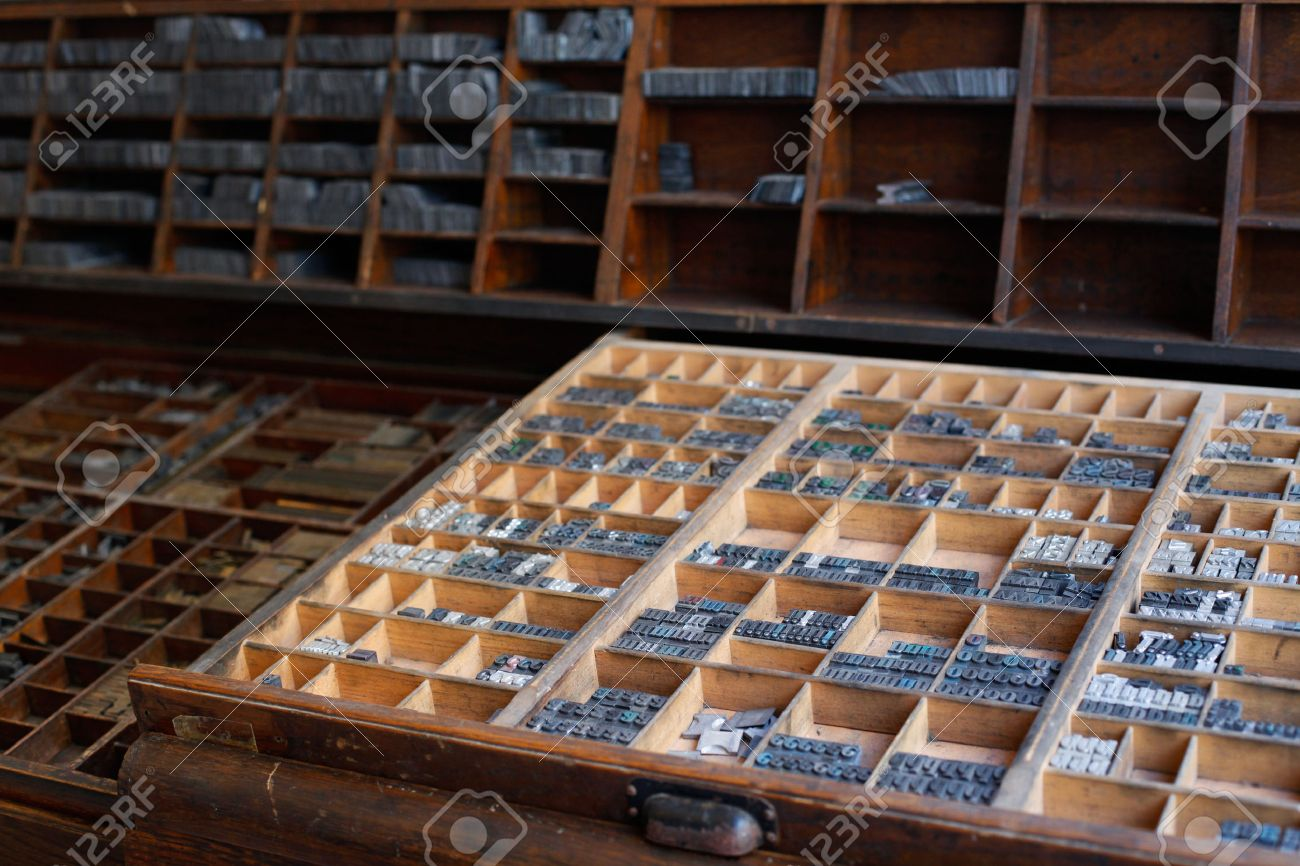 old vintage metal printing press letters in a drawer stock photo 36831409