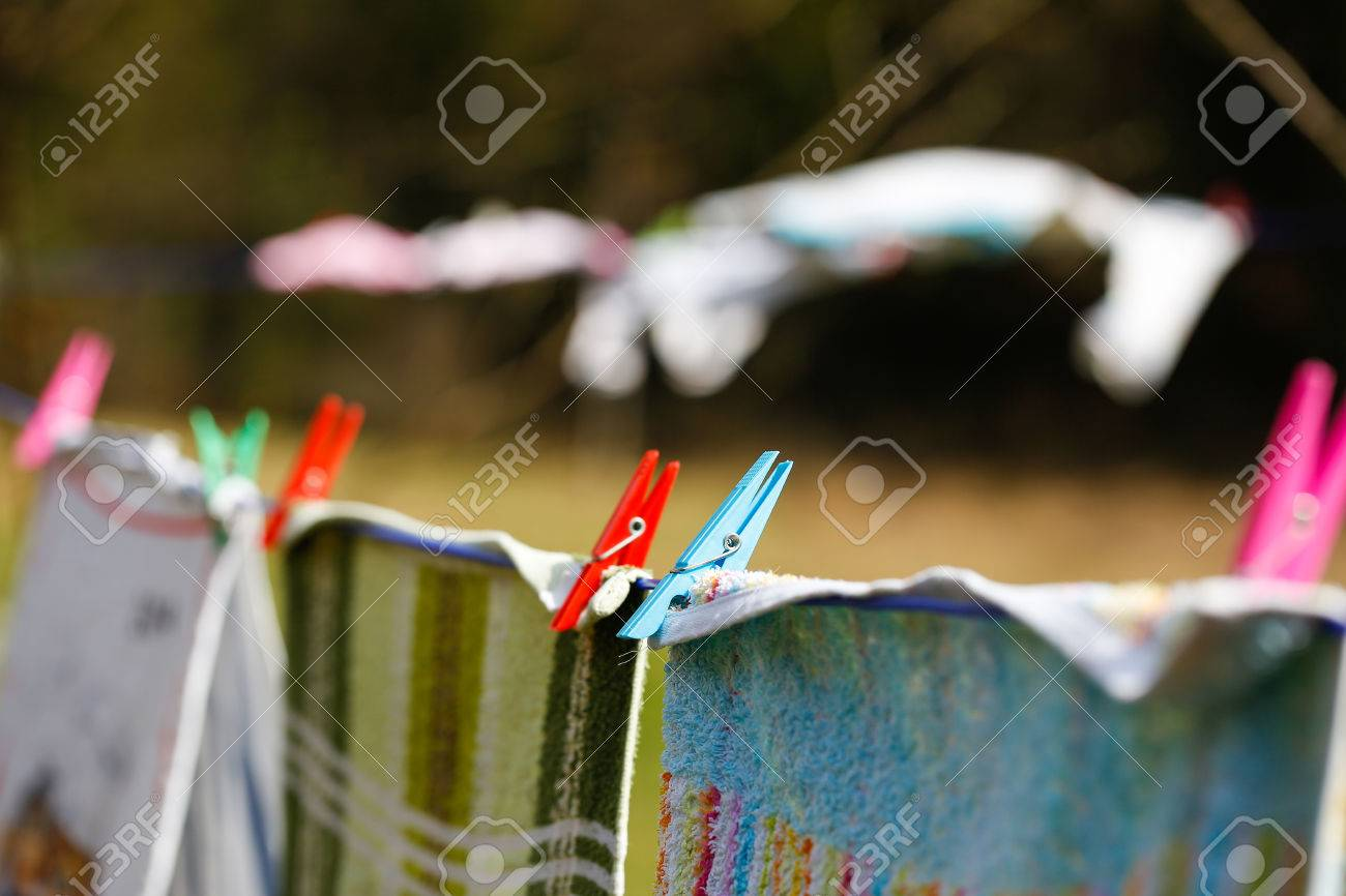 Clothespins Holding Laundry On The Drying Line Drying Clothes