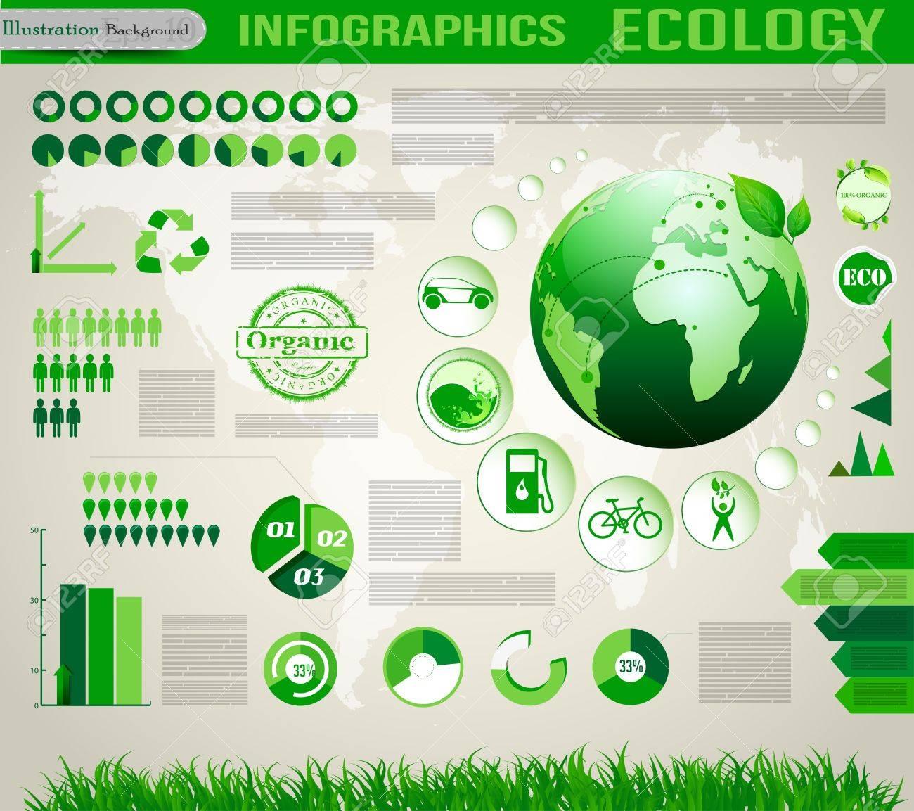 Ecology social info graphics vector elements Stock Vector - 18406796