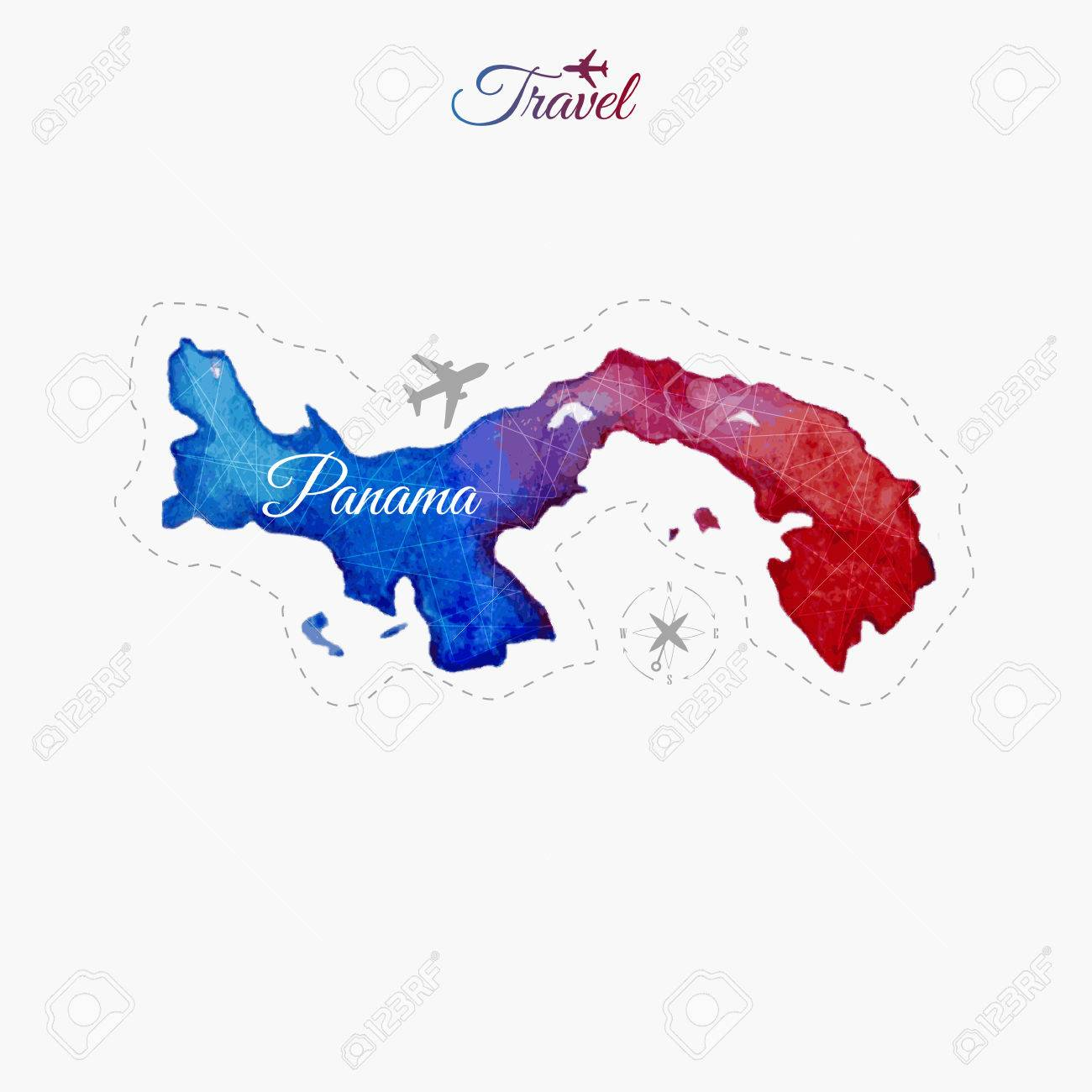 Travel Around The World. Panama. Watercolor Map Royalty Free ...