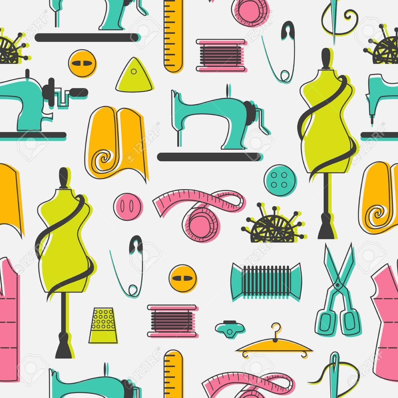 Näh- Und Schneider Elemente In Nahtlose Muster. Nähmaschine, Textil ...