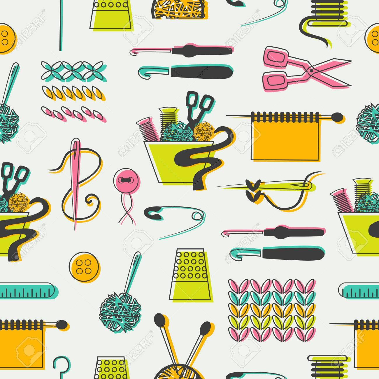 Schneiderei Und Nähen Symbole Und Elemente In Muster. Lizenzfrei ...