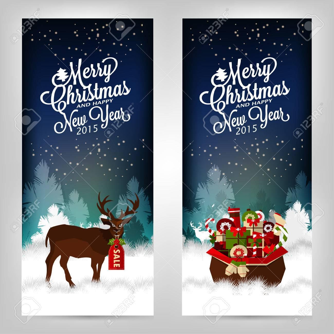 Feliz Navidad Y Próspero Año Nuevo Tarjetas De Invitación Con Los Ciervos Y Los Regalos